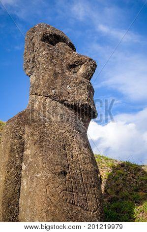 Moai Statue On Rano Raraku Volcano, Easter Island