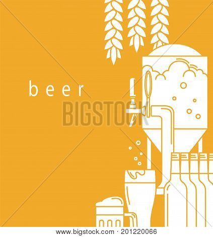 Beer mug, glass, beer tap,equipment for brewery, malt. A brochure design template for a brewery, pub, restaurant, bar. Flyer, advertising booklet, label. Vector illustration is cropped with a mask.