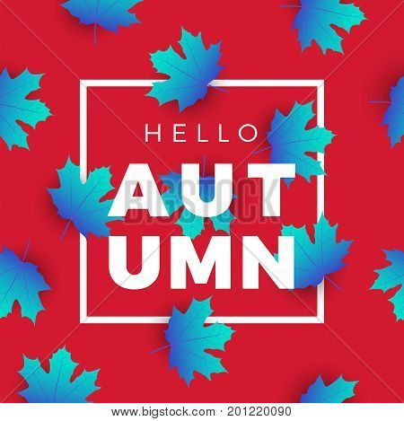 Hello Autumn Promotion Web Banner With Floral Pattern. Promo Fall Season Quote Layout With Maple Lea