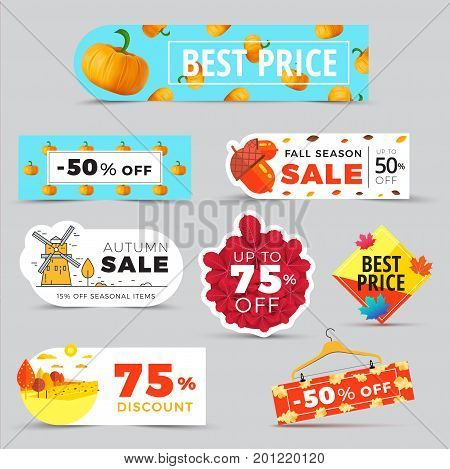 Sale Promotion Web Banners With Autumn Background. Promo Fall Season Discount Label Or Tag Layouts W