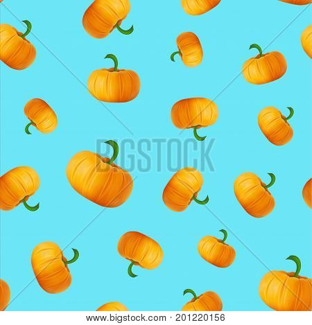 Seamless Pattern With Pumpkins On Blue Background. Autumn Or Fall Season Repeating Print Layout. Vec