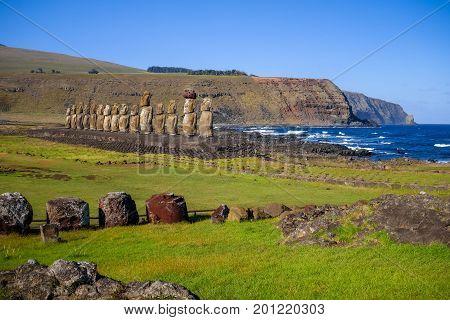 Moais Statues, Ahu Tongariki, Easter Island