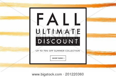 Sale Promotion Web Banner With Luxury Hand-drawn Autumn Background. Promo Fall Season Discount Layou