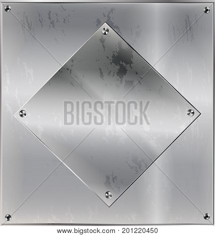iron background, metal stylized sheet with geometric figure square and holes