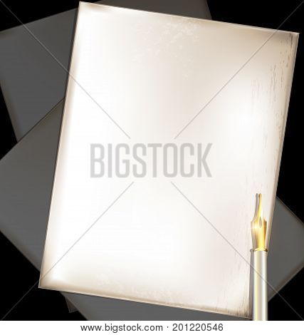 dark background, retro stylized sheets of paper and old-fashioned golden writing pen