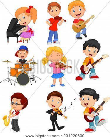 Vector illustration of Cartoon little kids playing music
