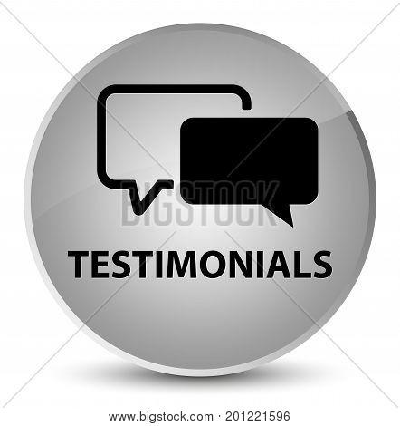 Testimonials Elegant White Round Button