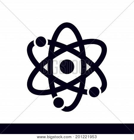 Atom sign symbol. Atom part icon. Flat design style.