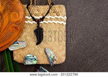 New Zealand - Maori Themed Objects - Fern Leaf Pendant, Wooden Mere With Flax Leaves And Abalone She
