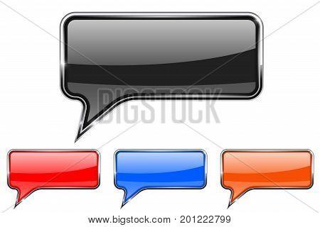 Speech bubbles. Rectangular communication 3d icons with chrome frame. Vector illustration isolated on white background