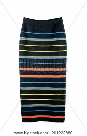 Knitted black skirt in colored strip isolate. Black skirt on white background