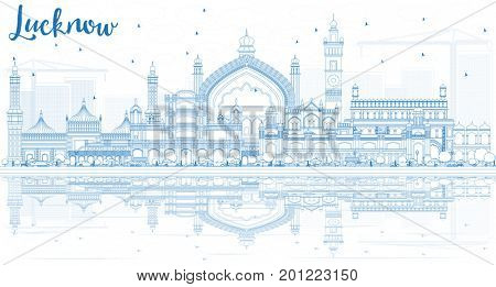 Outline Lucknow Skyline with Blue Buildings and Reflections. Business Travel and Tourism Concept with Modern Architecture. Image for Presentation Banner Placard and Web Site.