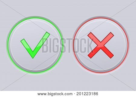 Cancel and Submit gray buttons. Vector 3d illustration