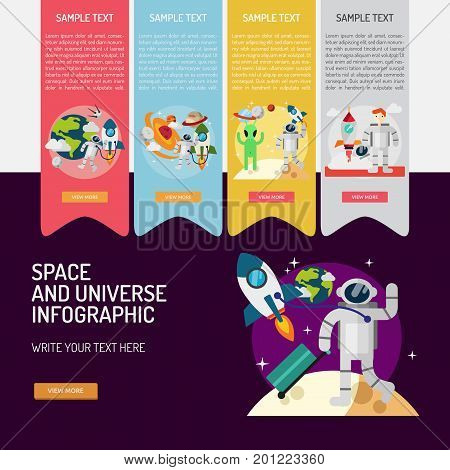 Infographic Space and Universe | Set of great infographic flat design illustration concepts for space, universe, science, technology and much more.