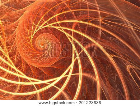 Vibrant Fractal With A Sun Spiral Pattern. A Digital Image Is Rendered On A Computer.