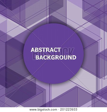 Abstract background with purple hexagon template, stock vector