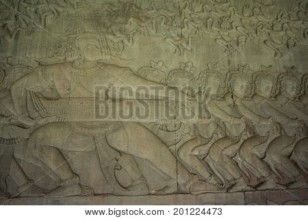 SIEM REAP, Cambodia - September 01 2014: Ancient Khmer bas relief wall carving inside the inner wall of Angkor Wat, Cambodia.