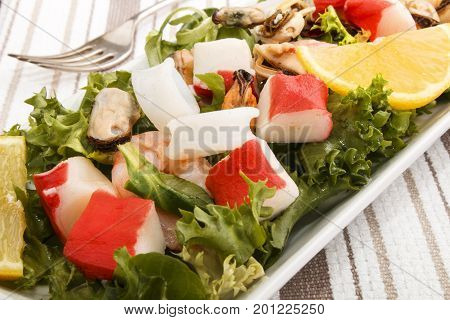 cold fresh seefood slalad fine dinning with healthy food