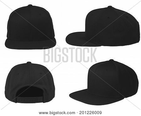 Blank cap,hat 4 view set color black