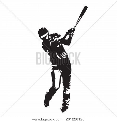 Baseball player batter abstract vector silhouette front view