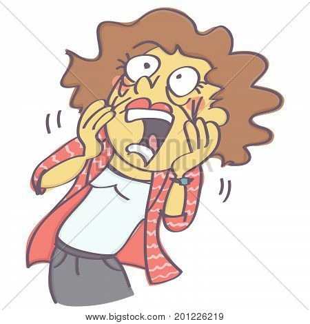 Funny vector cartoon of terrified woman screaming and pulling her face in horror, isolated on white background