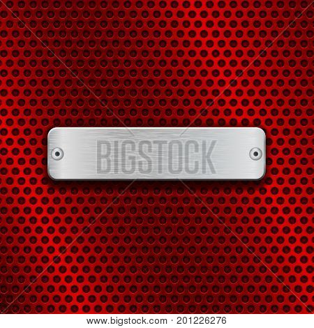 Red metal perforated background with chrome rectangle plate. Vector 3d illustration