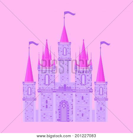 Pink princess magic castle. Flat cute fairytale palace with tower, child medieval kingdom.