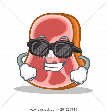 Super cool meat character cartoon food vector illustration
