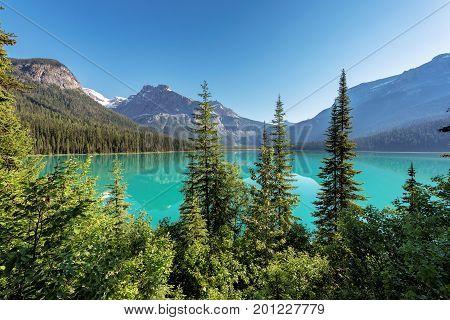 Emerald Lake at sunrise in Yoho National Park, British Columbia, Canada.