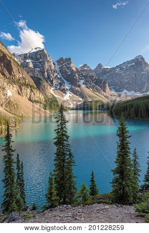 Beautiful Moraine Lake in Banff National Park, Canadian Rockies