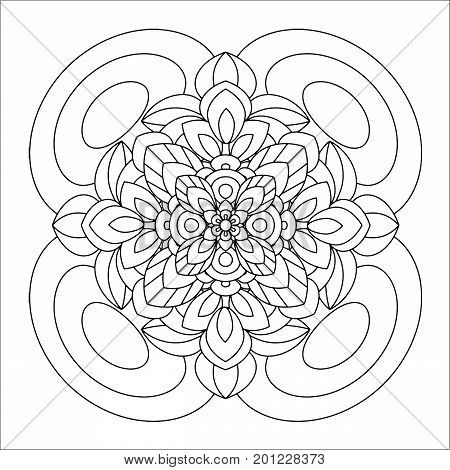 Flower mandala vector illustration. Oriental pattern, vintage decorative elements. Islam, Arabic, Indian, moroccan, turkish ottoman motifs. Coloring page