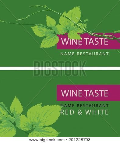 Vector set of two business cards for a store or restaurant for wine tasting with a branch of grapes on the green background