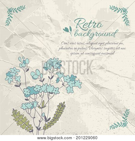 Retro flourish background with text blue flower green leaves on crumpled paper vector illustration