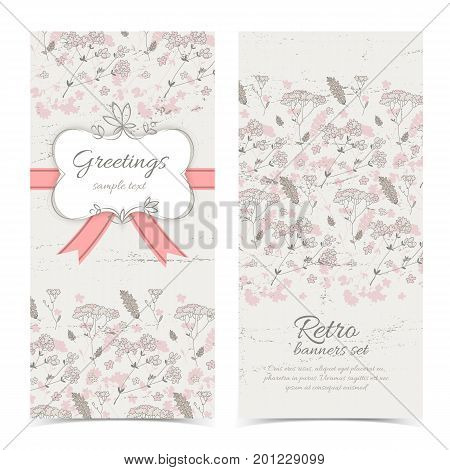 Vintage congratulatory vertical banners with frame text red ribbon bow on light flourish background vector illustration