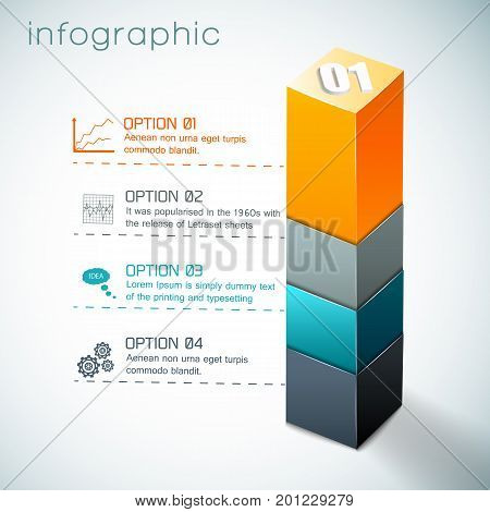 Infographics with 3d colorful column from geometric shapes and set of icons on white background vector illustration
