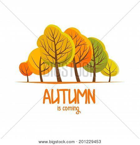 Autumn brochure for your design. Flat illustration. Autumn landscape. Vector illustration.