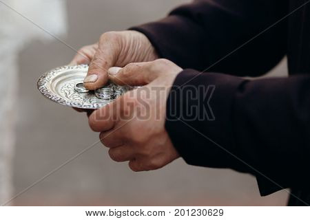 Couple Of Silver Wedding Rings On Silver Plate Close-up In Church During Wedding Ceremony, Luxury Je