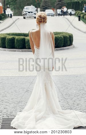 Beautiful Stylish Bride In Elegant White Wedding Dress With Veil Posing Outdoors In The City, Gorgeo