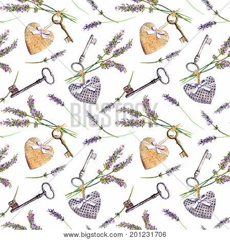 Provencal background - lavender flowers, old keys, textile hearts. Seamless pattern in rural style of Provence. Watercolor