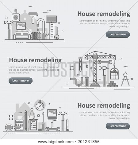 Flat line vector design concept banner templates set of house and home remodel process repair service building renovation construction for design header post website on gray paper background