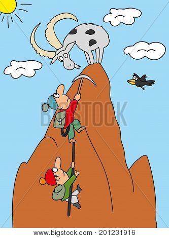 vector illustration Two climbers climb the mountain top