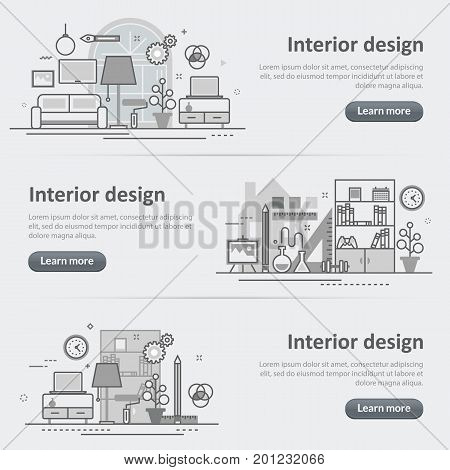 Flat line vector design concept banner templates set of interior design process architecture furniture construction decoration for design header post website on gray paper background