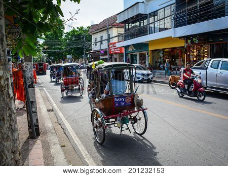 Traffic On Street In Chiang Mai, Thailand