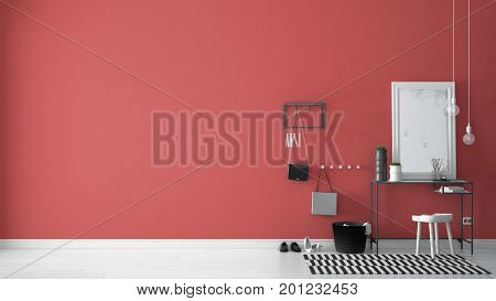 Scandinavian Entrance Lobby Hall With Table, Stool, Carpet And Mirror, Minimalist White And Red Inte