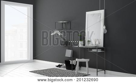 Scandinavian Entrance Lobby Hall With Table, Stool, Carpet And Mirror, Minimalist White And Gray Int
