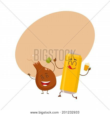 Funny aluminum beer can and fried chicken leg characters having fun, cartoon vector illustration with space for text. Funny smiling beer can and chicken leg, drumstick having party together