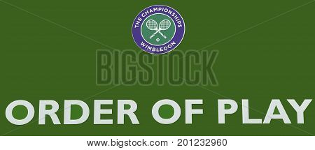 London, the UK - May 2016: order of play sign at Wimbledon