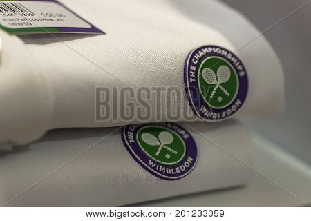 London, the UK - May 2016: t-shirts with Wimbledon logo in the official Wimbledon store