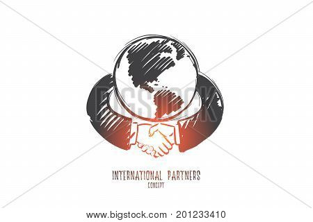 International partners concept. Hand drawn businessmen shaking hands. Hands around the globe isolated vector illustration.