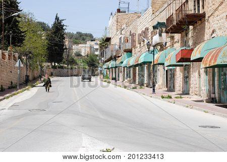 Undefined Israeli Soldier At Hebron Street